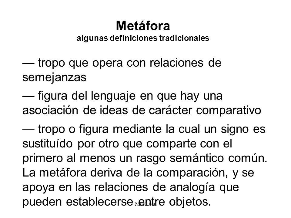 Metáfora Metáfora algunas definiciones tradicionales tropo que opera con relaciones de semejanzas figura del lenguaje en que hay una asociación de ide