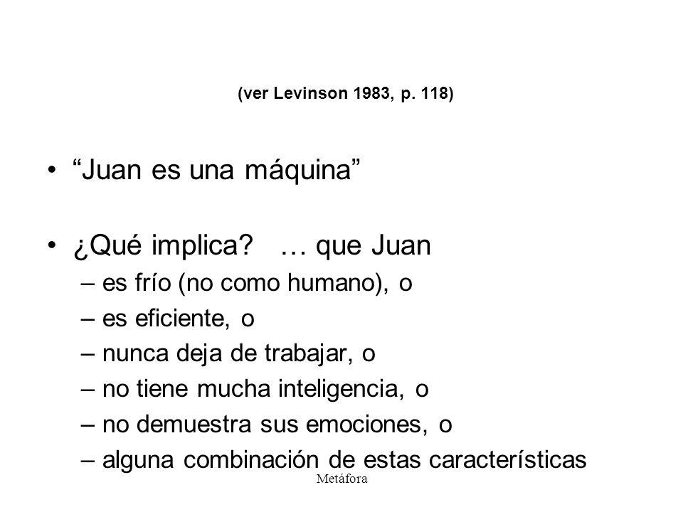 Metáfora (ver Levinson 1983, p. 118) Juan es una máquina ¿Qué implica? … que Juan –es frío (no como humano), o –es eficiente, o –nunca deja de trabaja