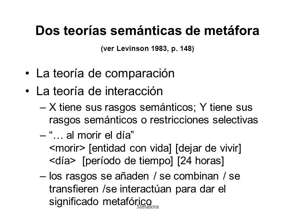 Metáfora Dos teorías semánticas de metáfora (ver Levinson 1983, p. 148) La teoría de comparación La teoría de interacción –X tiene sus rasgos semántic