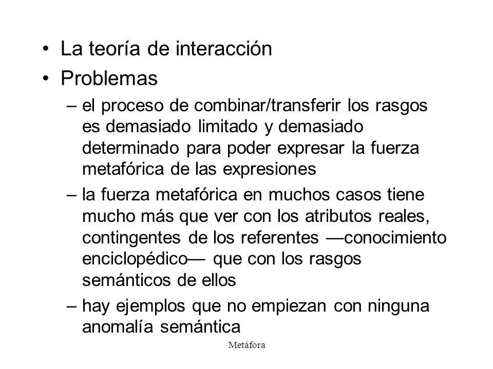 Metáfora La teoría de interacción Problemas –el proceso de combinar/transferir los rasgos es demasiado limitado y demasiado determinado para poder exp