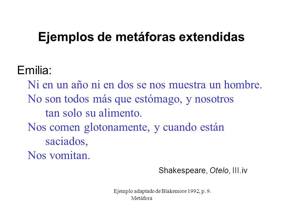 Metáfora Ejemplos de metáforas extendidas Emilia: Ni en un año ni en dos se nos muestra un hombre. No son todos más que estómago, y nosotros tan solo