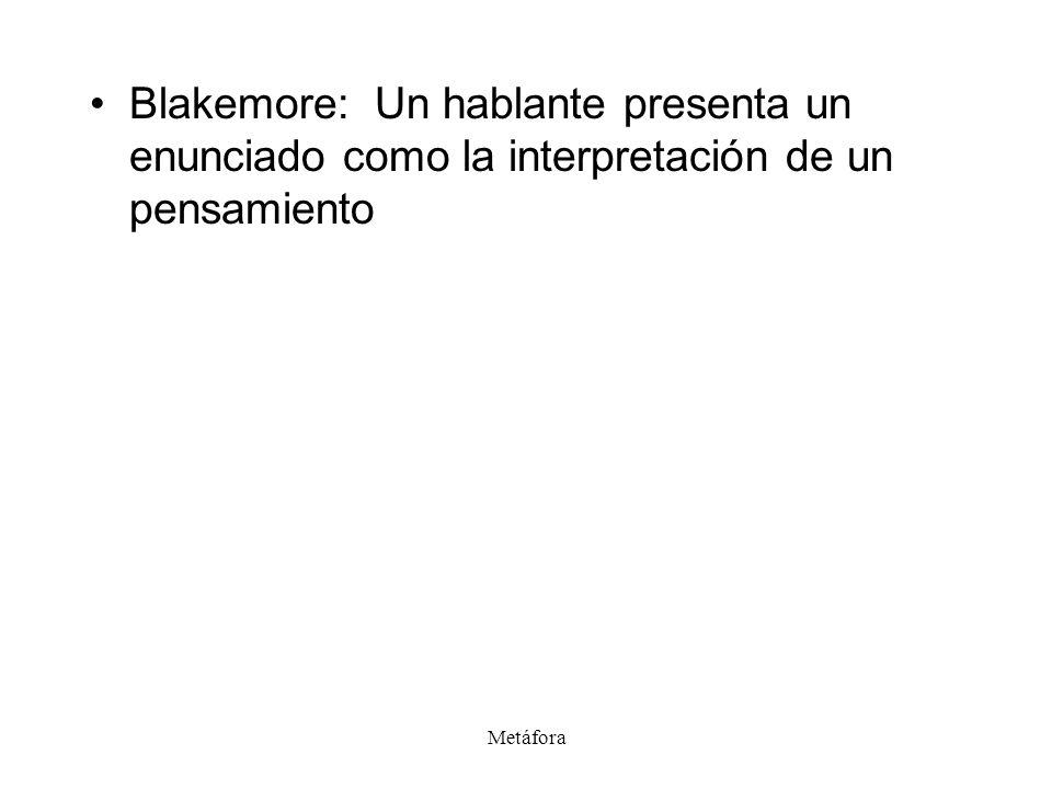 Metáfora Blakemore: Un hablante presenta un enunciado como la interpretación de un pensamiento