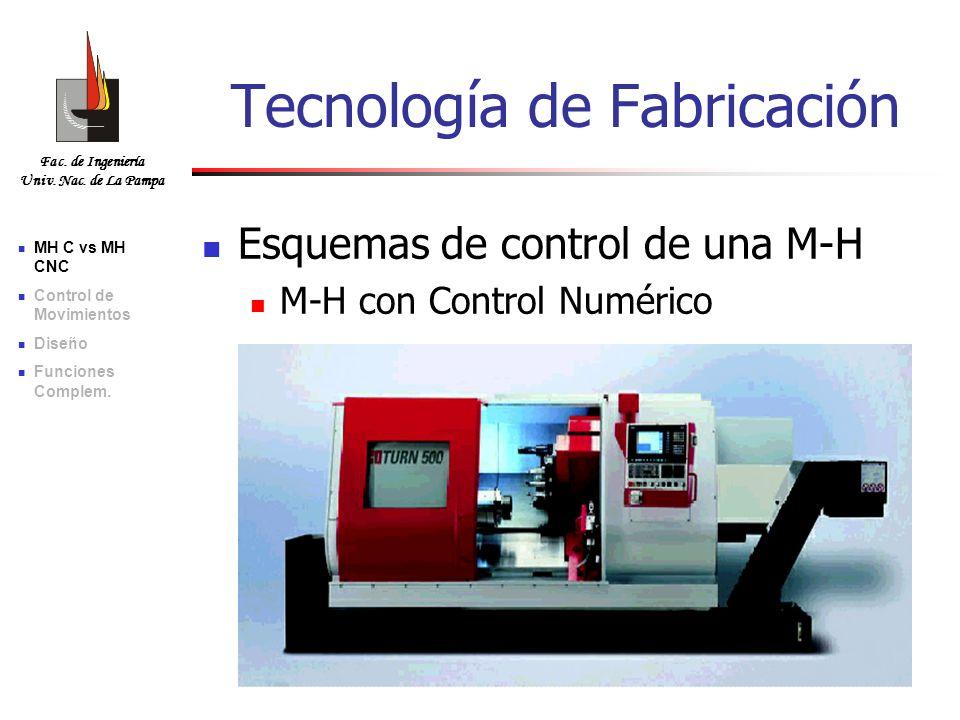 Fac. de Ingeniería Univ. Nac. de La Pampa Tecnología de Fabricación Esquemas de control de una M-H M-H con Control Numérico MH C vs MH CNC Control de