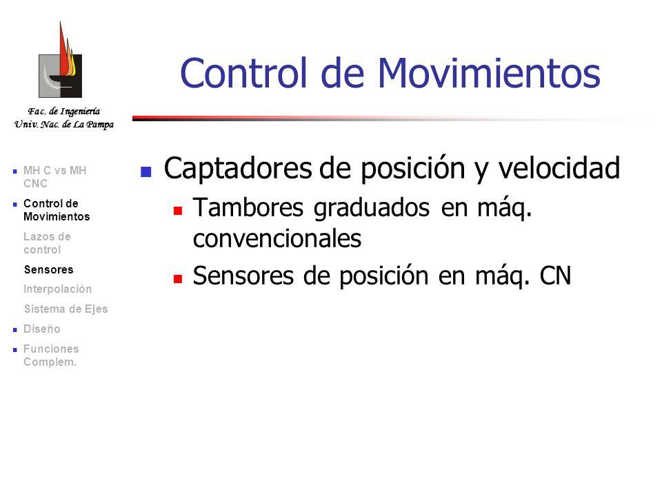 Fac. de Ingeniería Univ. Nac. de La Pampa Captadores de posición y velocidad Tambores graduados en máq. convencionales Sensores de posición en máq. CN