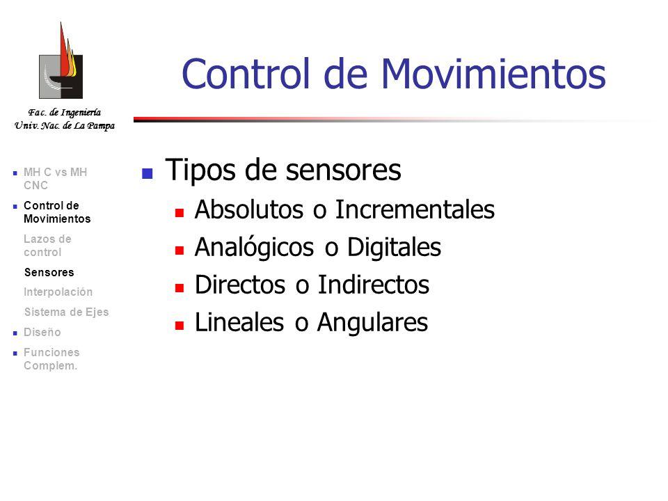 Fac. de Ingeniería Univ. Nac. de La Pampa Tipos de sensores Absolutos o Incrementales Analógicos o Digitales Directos o Indirectos Lineales o Angulare