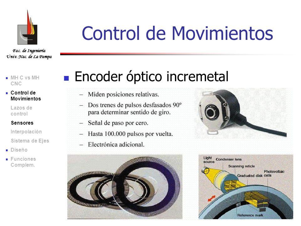 Fac. de Ingeniería Univ. Nac. de La Pampa Encoder óptico incremetal Control de Movimientos MH C vs MH CNC Control de Movimientos Lazos de control Sens