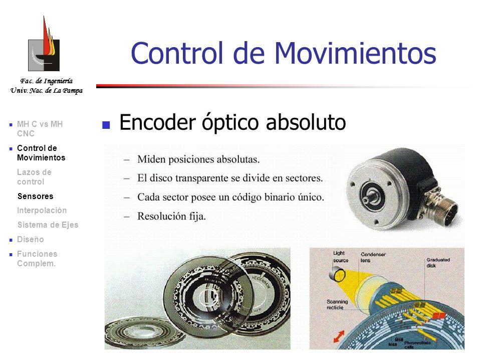 Fac. de Ingeniería Univ. Nac. de La Pampa Encoder óptico absoluto Control de Movimientos MH C vs MH CNC Control de Movimientos Lazos de control Sensor