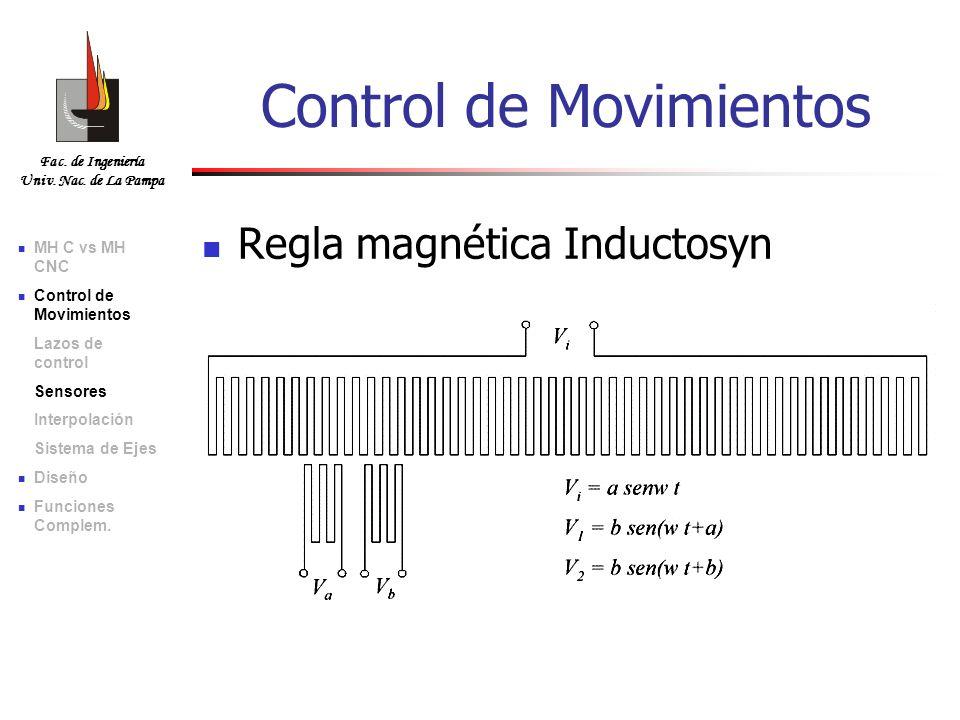 Fac. de Ingeniería Univ. Nac. de La Pampa Regla magnética Inductosyn Control de Movimientos MH C vs MH CNC Control de Movimientos Lazos de control Sen