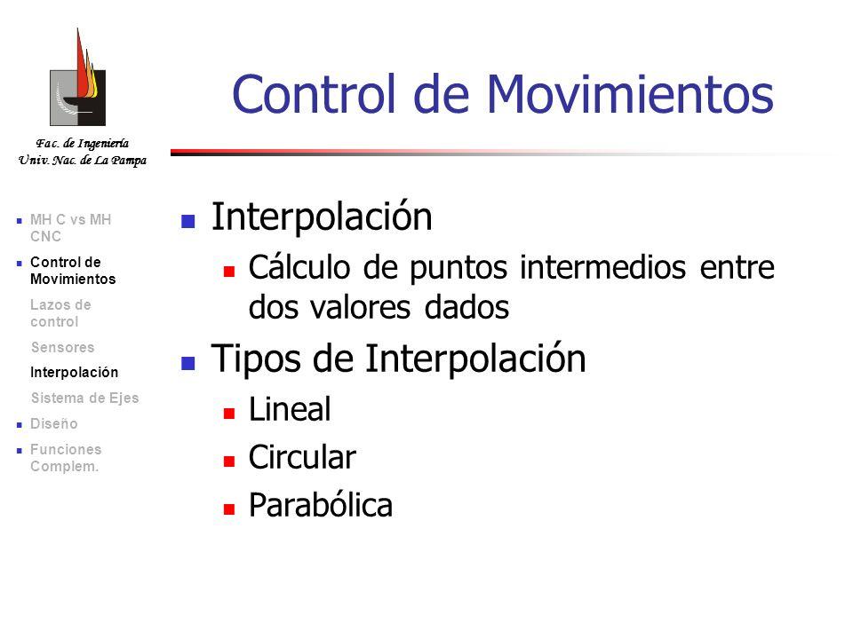 Fac. de Ingeniería Univ. Nac. de La Pampa Interpolación Cálculo de puntos intermedios entre dos valores dados Tipos de Interpolación Lineal Circular P