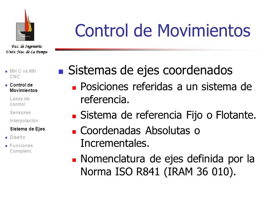 Fac. de Ingeniería Univ. Nac. de La Pampa Sistemas de ejes coordenados Posiciones referidas a un sistema de referencia. Sistema de referencia Fijo o F