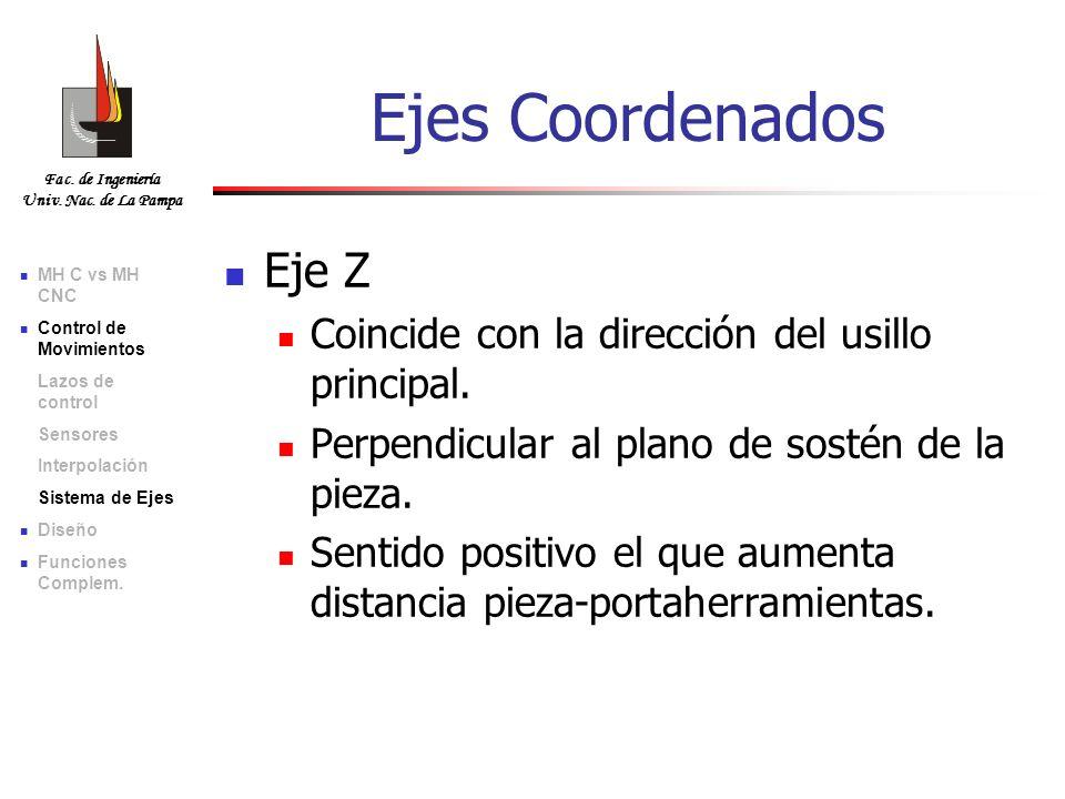 Fac. de Ingeniería Univ. Nac. de La Pampa Eje Z Coincide con la dirección del usillo principal. Perpendicular al plano de sostén de la pieza. Sentido