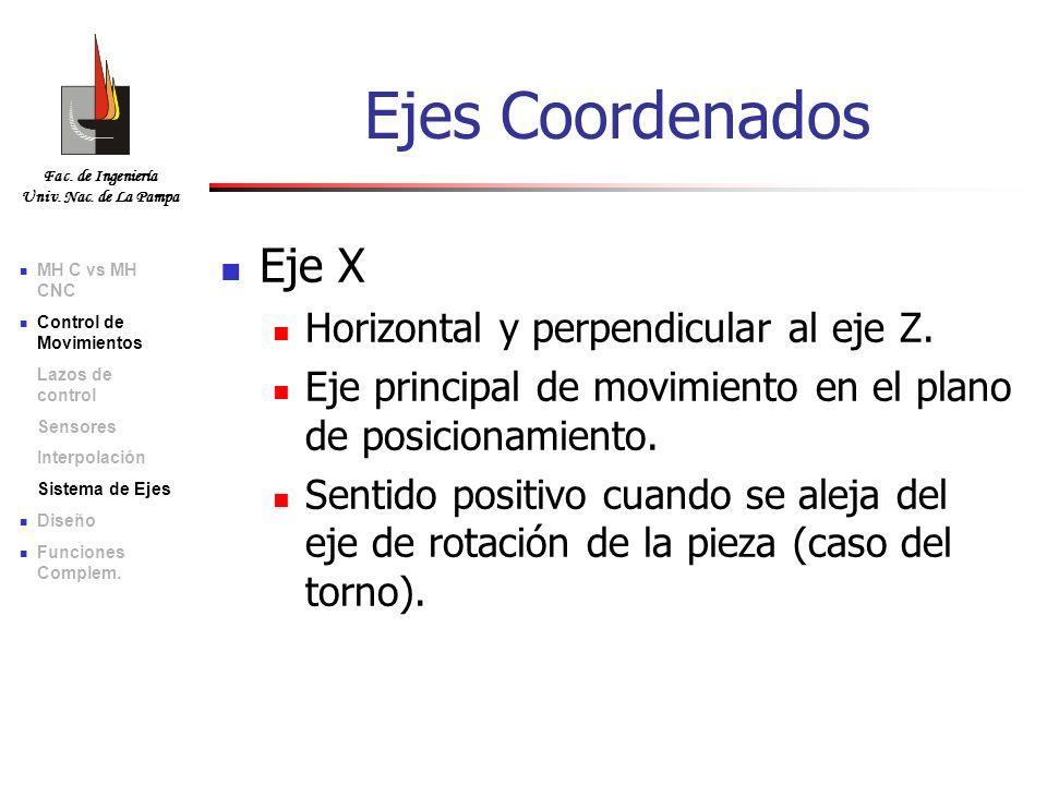 Fac. de Ingeniería Univ. Nac. de La Pampa Eje X Horizontal y perpendicular al eje Z. Eje principal de movimiento en el plano de posicionamiento. Senti