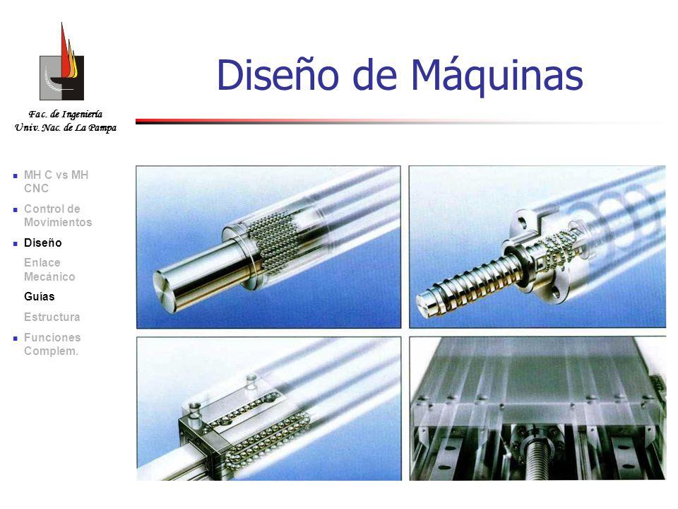 Fac. de Ingeniería Univ. Nac. de La Pampa Diseño de Máquinas MH C vs MH CNC Control de Movimientos Diseño Enlace Mecánico Guías Estructura Funciones C