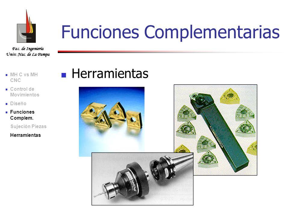Fac. de Ingeniería Univ. Nac. de La Pampa Herramientas Funciones Complementarias MH C vs MH CNC Control de Movimientos Diseño Funciones Complem. Sujec