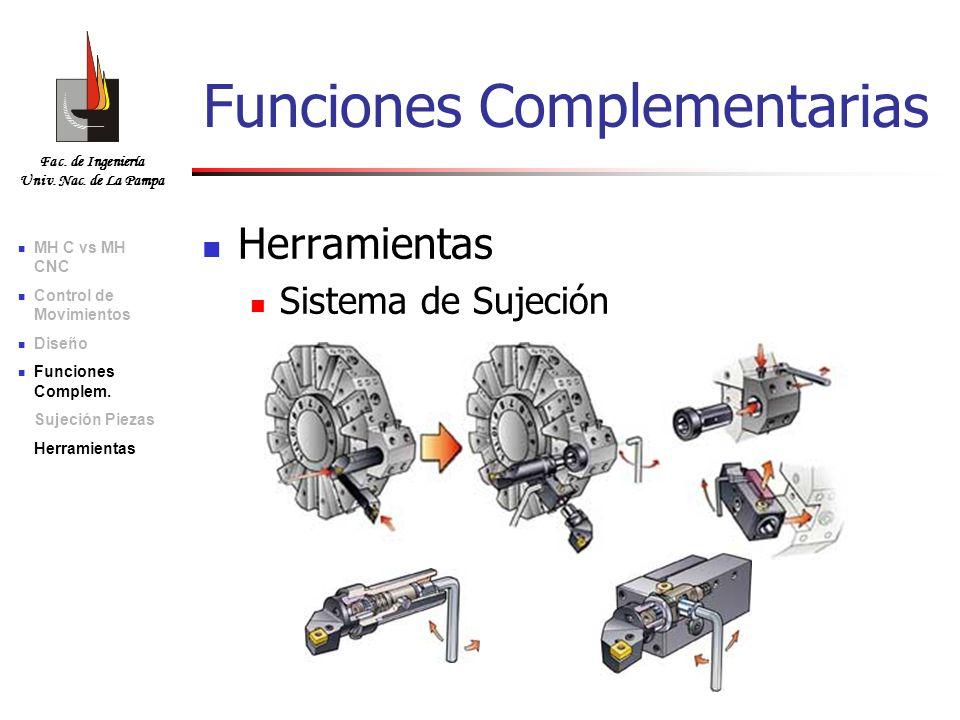 Fac. de Ingeniería Univ. Nac. de La Pampa Herramientas Sistema de Sujeción Funciones Complementarias MH C vs MH CNC Control de Movimientos Diseño Func
