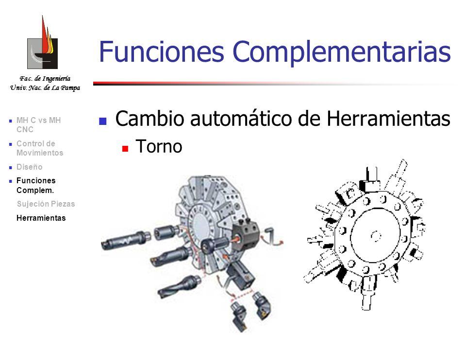 Fac. de Ingeniería Univ. Nac. de La Pampa Cambio automático de Herramientas Torno Funciones Complementarias MH C vs MH CNC Control de Movimientos Dise