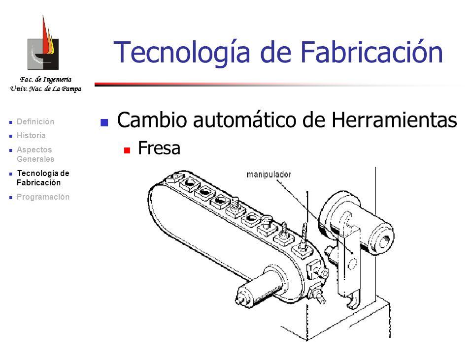 Fac. de Ingeniería Univ. Nac. de La Pampa Tecnología de Fabricación Cambio automático de Herramientas Fresa Definición Historia Aspectos Generales Tec