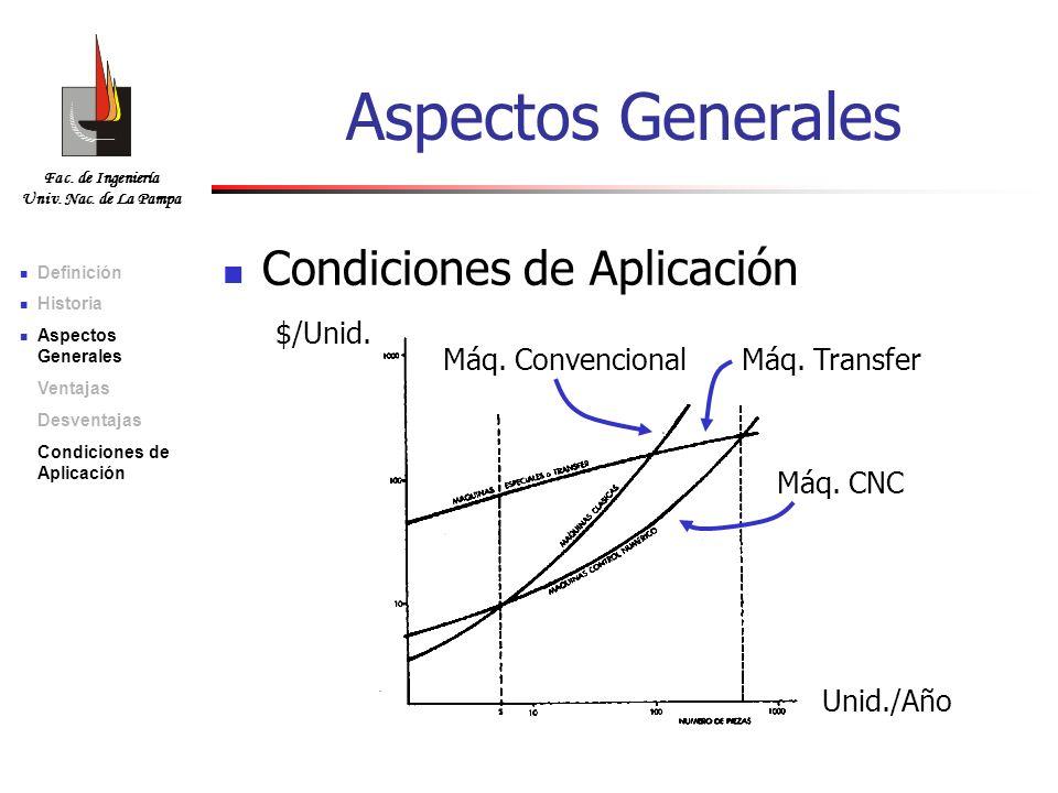 Fac. de Ingeniería Univ. Nac. de La Pampa Aspectos Generales Condiciones de Aplicación $/Unid. Unid./Año Máq. ConvencionalMáq. Transfer Máq. CNC Defin
