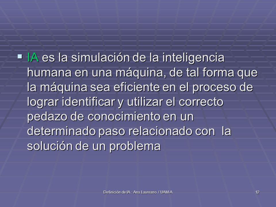 Definición de IA : Ana Laureano / UAM-A12 IA es la simulación de la inteligencia humana en una máquina, de tal forma que la máquina sea eficiente en el proceso de lograr identificar y utilizar el correcto pedazo de conocimiento en un determinado paso relacionado con la solución de un problema IA es la simulación de la inteligencia humana en una máquina, de tal forma que la máquina sea eficiente en el proceso de lograr identificar y utilizar el correcto pedazo de conocimiento en un determinado paso relacionado con la solución de un problema