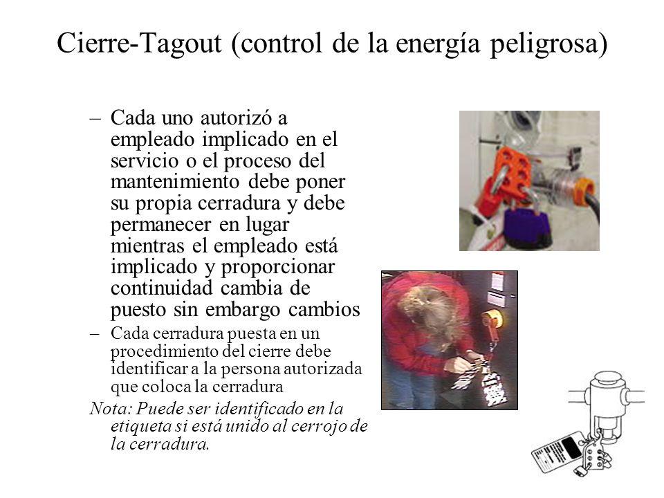 Cierre-Tagout (control de la energía peligrosa) –Cada uno autorizó a empleado implicado en el servicio o el proceso del mantenimiento debe poner su pr