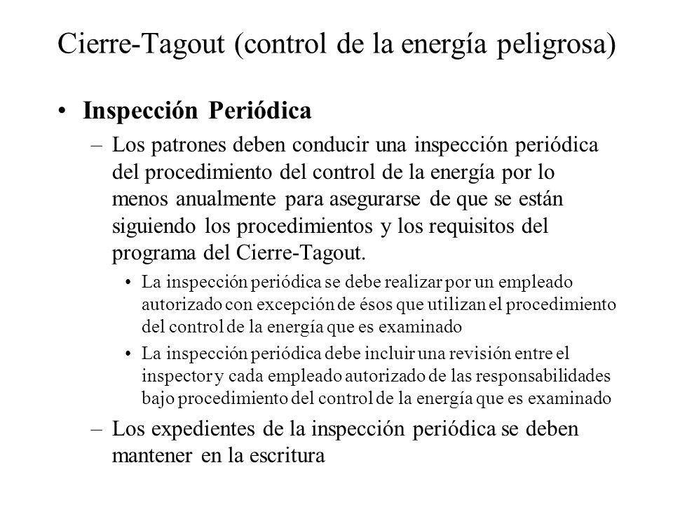 Cierre-Tagout (control de la energía peligrosa) Inspección Periódica –Los patrones deben conducir una inspección periódica del procedimiento del contr