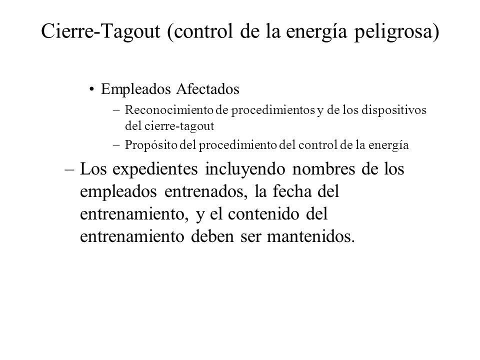 Cierre-Tagout (control de la energía peligrosa) Empleados Afectados –Reconocimiento de procedimientos y de los dispositivos del cierre-tagout –Propósi