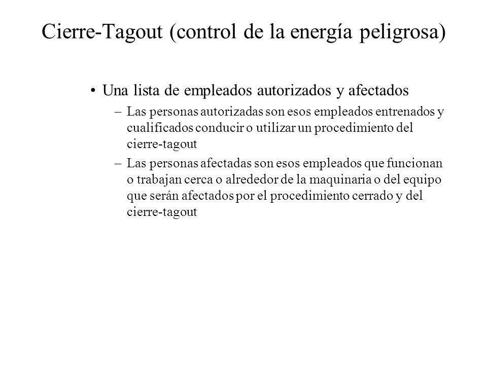 Cierre-Tagout (control de la energía peligrosa) Una lista de empleados autorizados y afectados –Las personas autorizadas son esos empleados entrenados