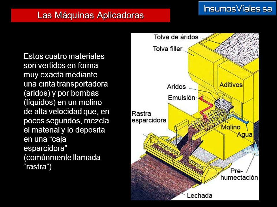 Las Máquinas Aplicadoras Estos cuatro materiales son vertidos en forma muy exacta mediante una cinta transportadora (aridos) y por bombas (líquidos) e