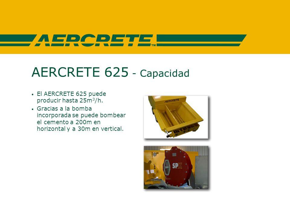 AERCRETE 625 - Capacidad El AERCRETE 625 puede producir hasta 25m 3 /h.