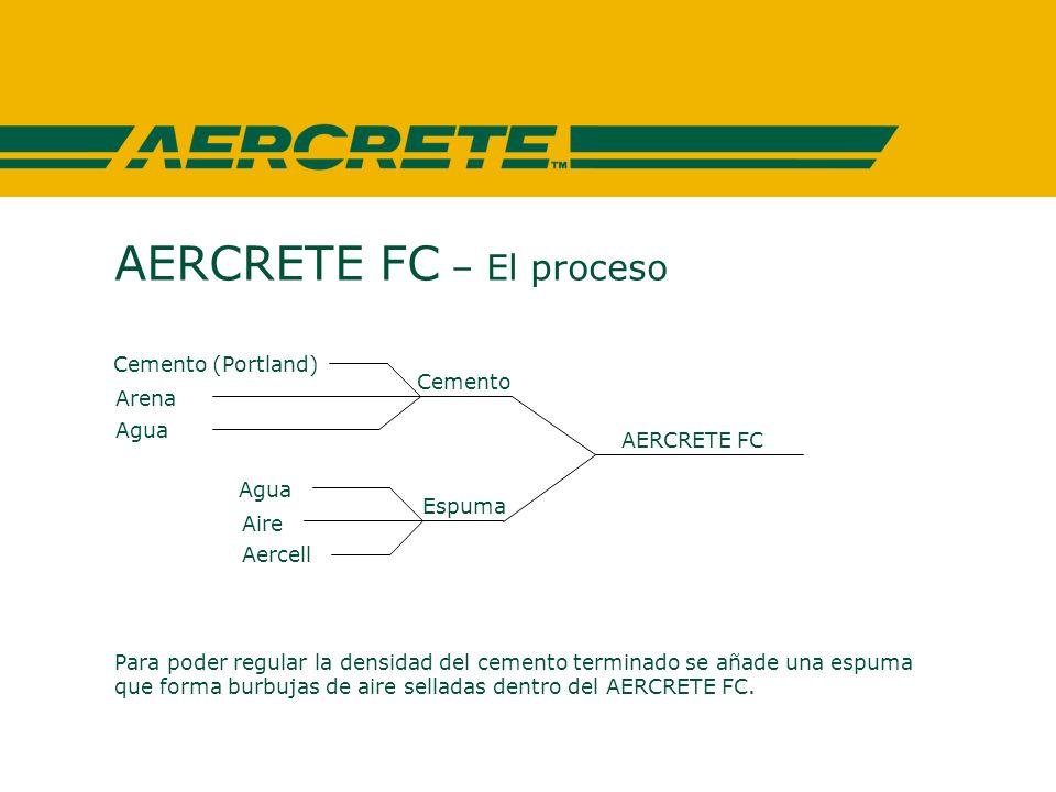 AERCRETE FC – El proceso Para poder regular la densidad del cemento terminado se añade una espuma que forma burbujas de aire selladas dentro del AERCRETE FC.