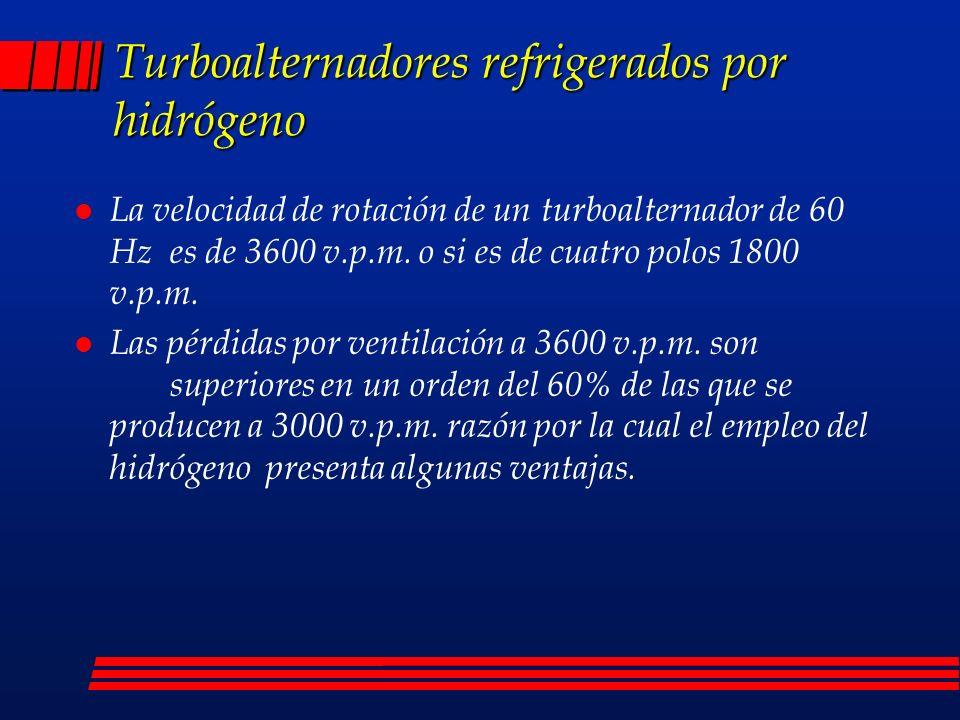 Turboalternadores refrigerados por hidrógeno l La velocidad de rotación de un turboalternador de 60 Hz es de 3600 v.p.m. o si es de cuatro polos 1800