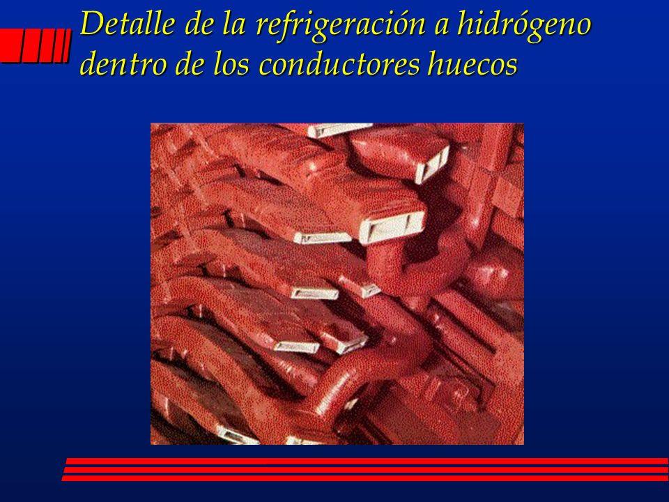 Detalle de la refrigeración a hidrógeno dentro de los conductores huecos