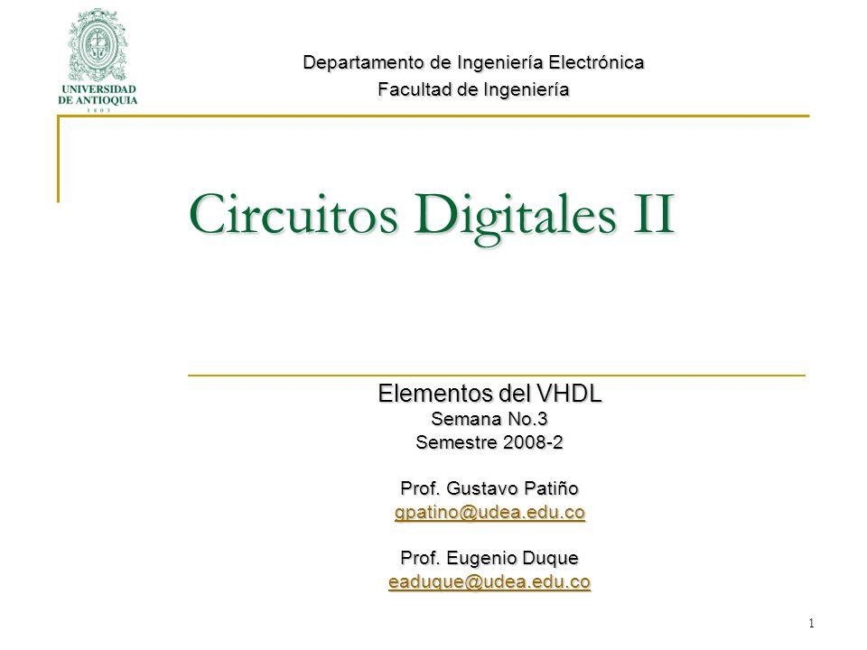 Circuitos Digitales II Elementos del VHDL Semana No.3 Semestre 2008-2 Prof. Gustavo Patiño gpatino@udea.edu.co Prof. Eugenio Duque eaduque@udea.edu.co