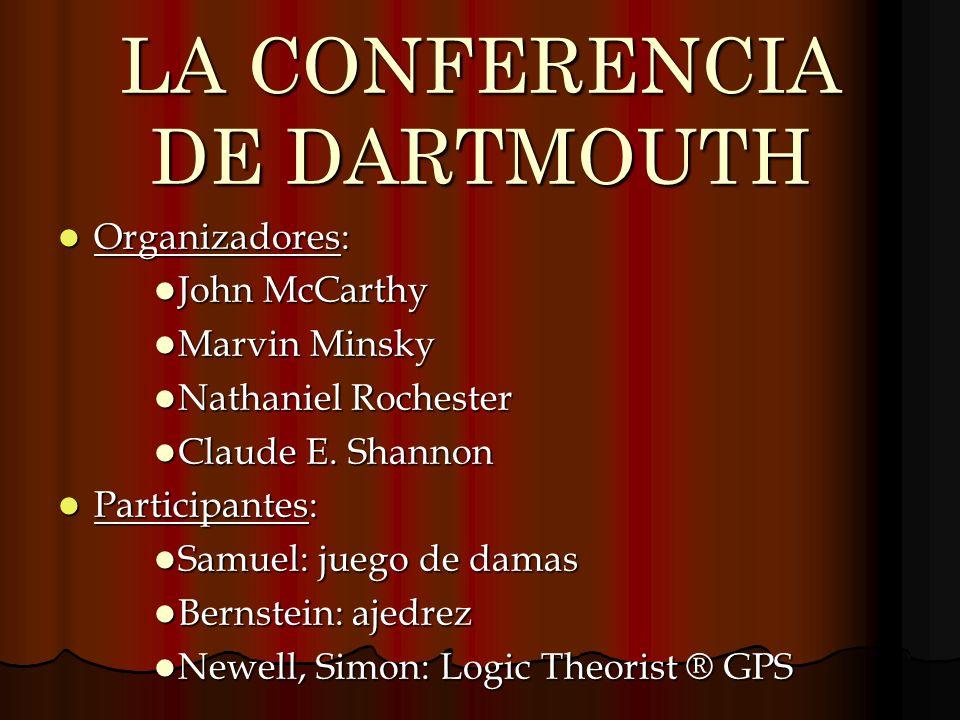 LA CONFERENCIA DE DARTMOUTH Organizadores: Organizadores: John McCarthy John McCarthy Marvin Minsky Marvin Minsky Nathaniel Rochester Nathaniel Roches