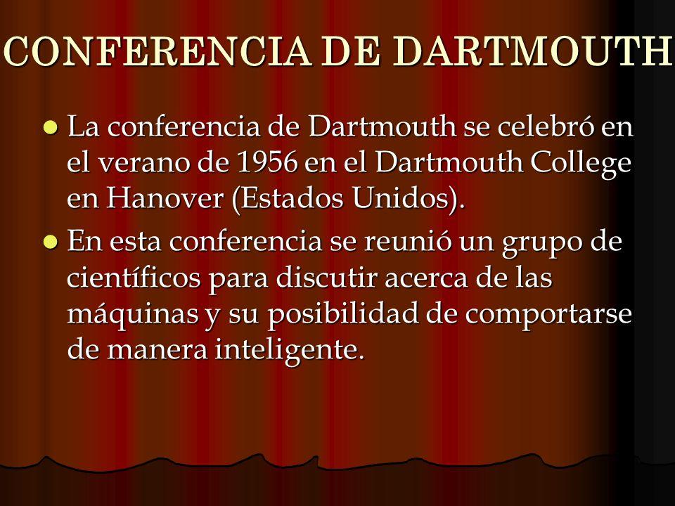 CONFERENCIA DE DARTMOUTH La conferencia de Dartmouth se celebró en el verano de 1956 en el Dartmouth College en Hanover (Estados Unidos). La conferenc