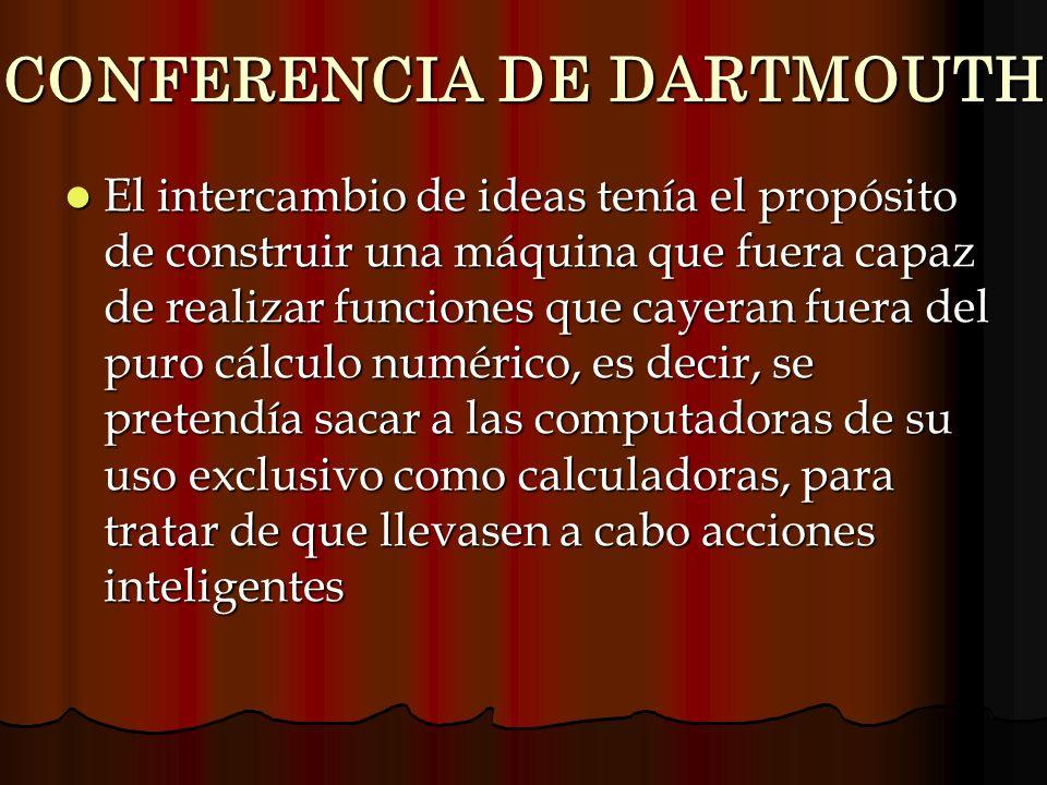 CONFERENCIA DE DARTMOUTH El intercambio de ideas tenía el propósito de construir una máquina que fuera capaz de realizar funciones que cayeran fuera d