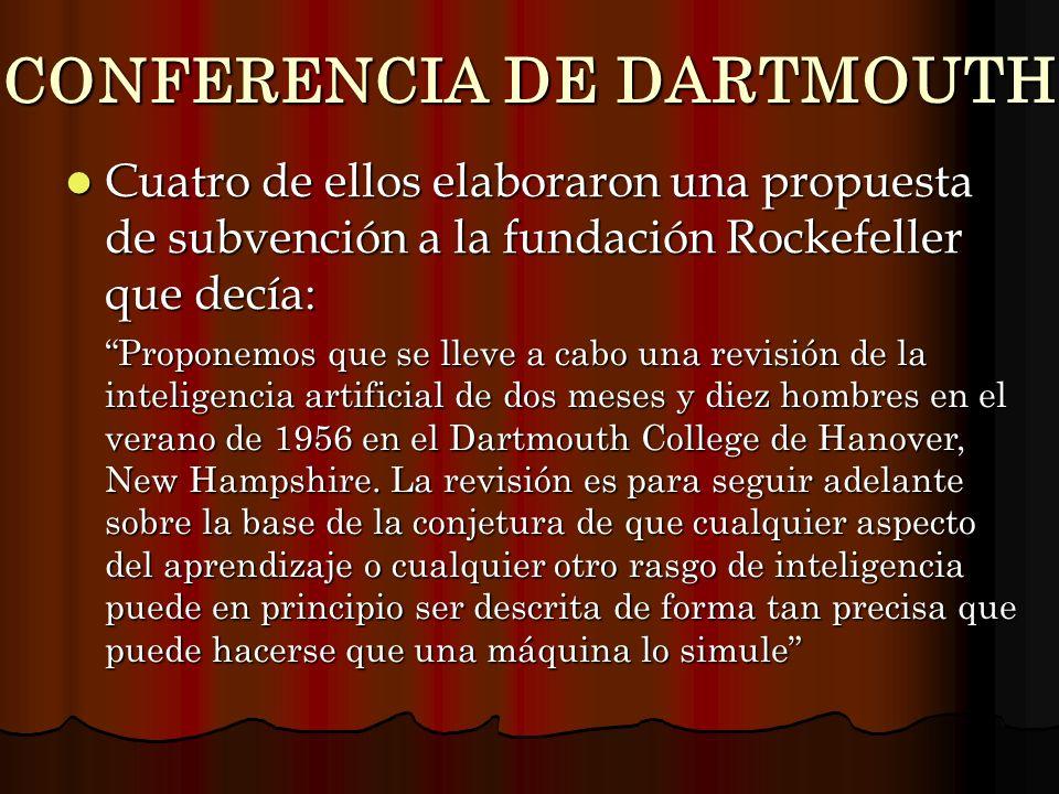 CONFERENCIA DE DARTMOUTH Cuatro de ellos elaboraron una propuesta de subvención a la fundación Rockefeller que decía: Cuatro de ellos elaboraron una p