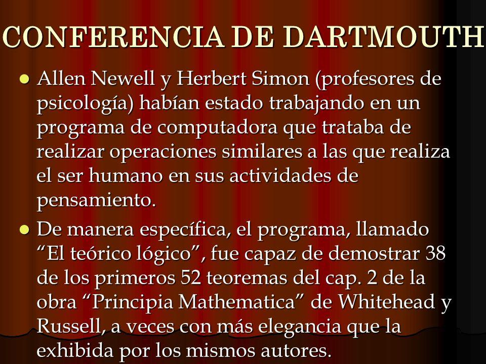 CONFERENCIA DE DARTMOUTH Allen Newell y Herbert Simon (profesores de psicología) habían estado trabajando en un programa de computadora que trataba de