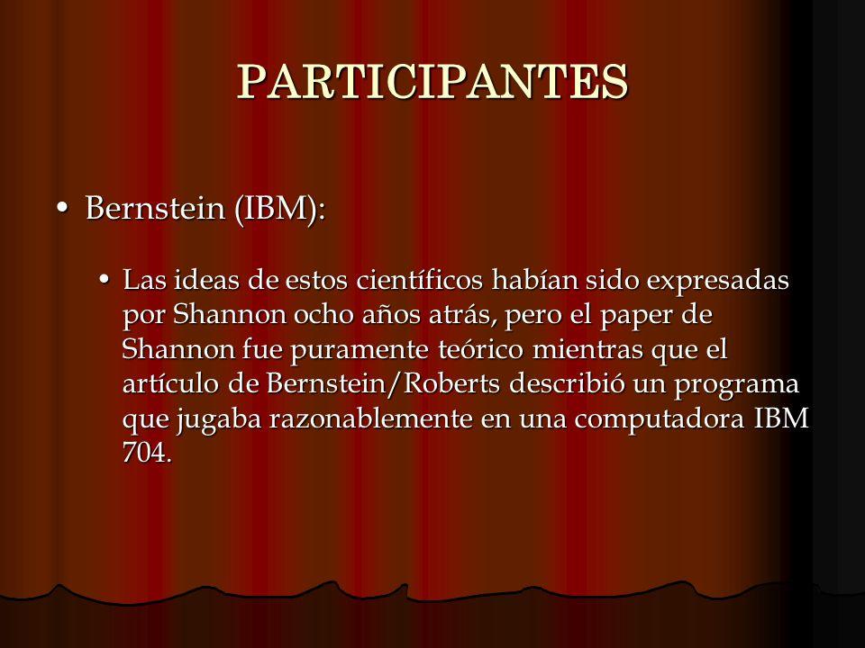 PARTICIPANTES Bernstein (IBM):Bernstein (IBM): Las ideas de estos científicos habían sido expresadas por Shannon ocho años atrás, pero el paper de Sha
