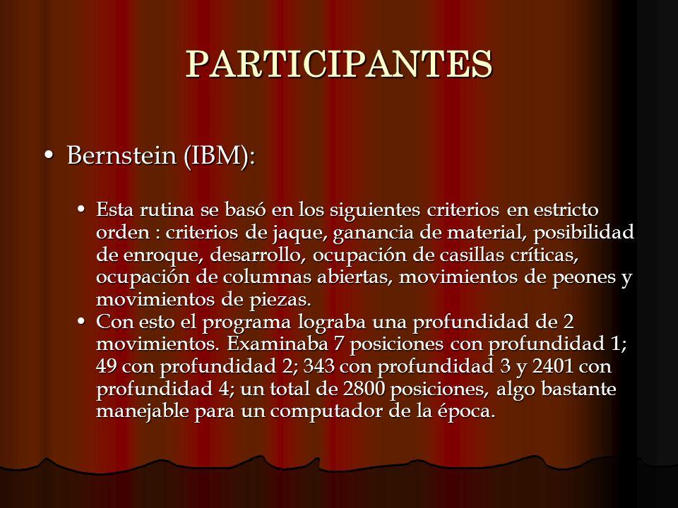 PARTICIPANTES Bernstein (IBM):Bernstein (IBM): Esta rutina se basó en los siguientes criterios en estricto orden : criterios de jaque, ganancia de mat
