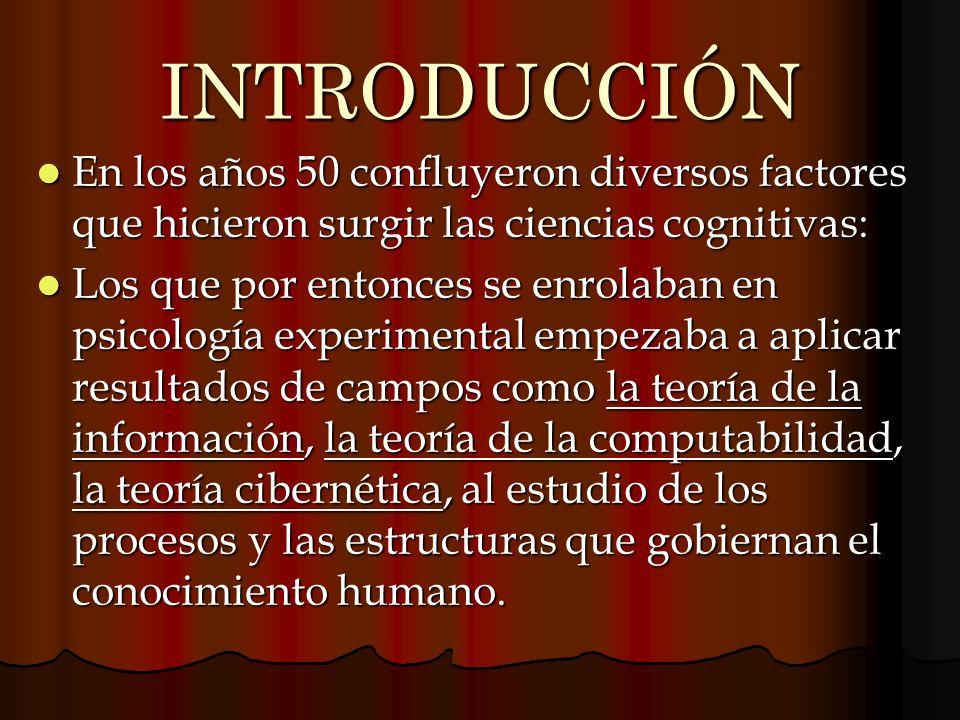 INTRODUCCIÓN En los años 50 confluyeron diversos factores que hicieron surgir las ciencias cognitivas: En los años 50 confluyeron diversos factores qu