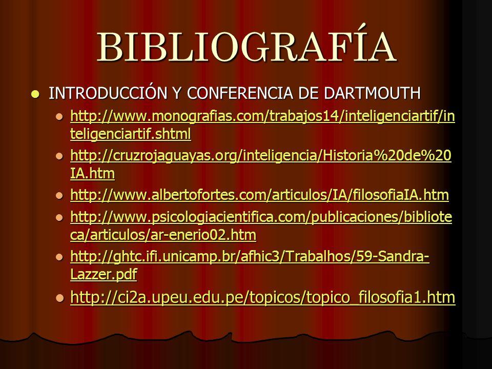 BIBLIOGRAFÍA INTRODUCCIÓN Y CONFERENCIA DE DARTMOUTH INTRODUCCIÓN Y CONFERENCIA DE DARTMOUTH http://www.monografias.com/trabajos14/inteligenciartif/in