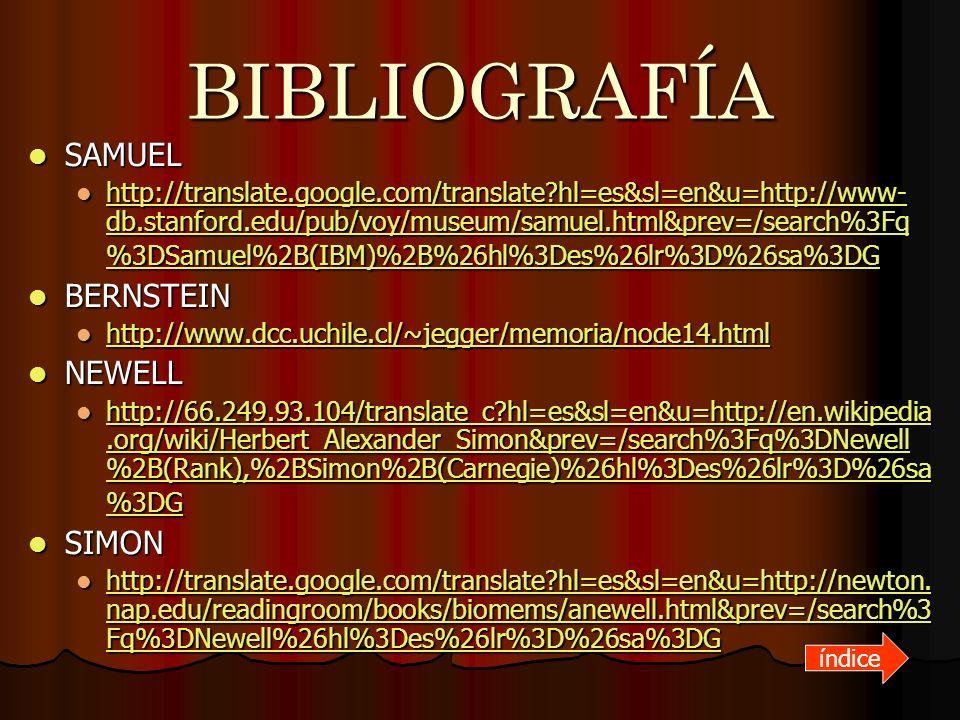 BIBLIOGRAFÍA SAMUEL SAMUEL http://translate.google.com/translate?hl=es&sl=en&u=http://www- db.stanford.edu/pub/voy/museum/samuel.html&prev=/search%3Fq