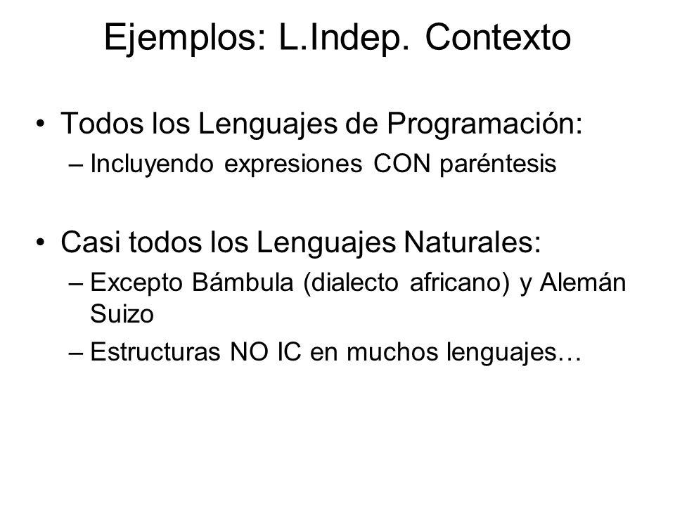 Todos los Lenguajes de Programación: –Incluyendo expresiones CON paréntesis Casi todos los Lenguajes Naturales: –Excepto Bámbula (dialecto africano) y