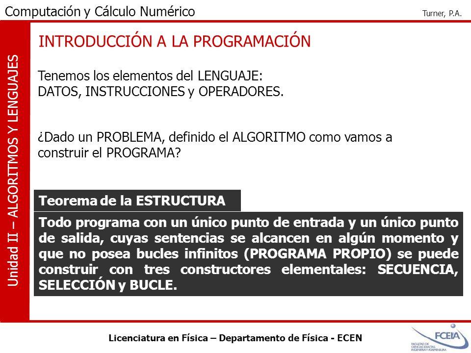Licenciatura en Física – Departamento de Física - ECEN Computación y Cálculo Numérico Turner, P.A. Unidad II – ALGORITMOS Y LENGUAJES INTRODUCCIÓN A L