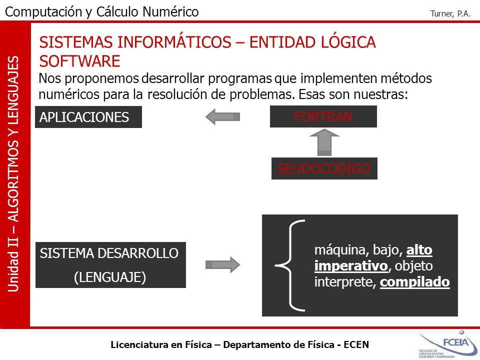 Licenciatura en Física – Departamento de Física - ECEN Computación y Cálculo Numérico Turner, P.A. Unidad II – ALGORITMOS Y LENGUAJES APLICACIONES SIS