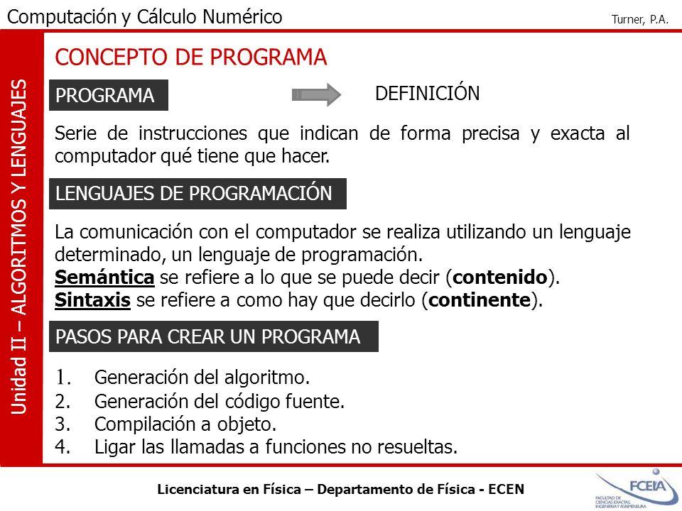 Licenciatura en Física – Departamento de Física - ECEN Computación y Cálculo Numérico Turner, P.A. Unidad II – ALGORITMOS Y LENGUAJES CONCEPTO DE PROG
