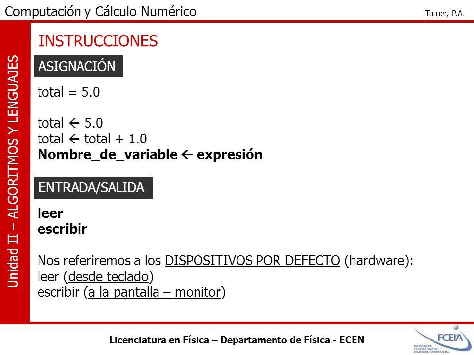Licenciatura en Física – Departamento de Física - ECEN Computación y Cálculo Numérico Turner, P.A. Unidad II – ALGORITMOS Y LENGUAJES INSTRUCCIONES AS