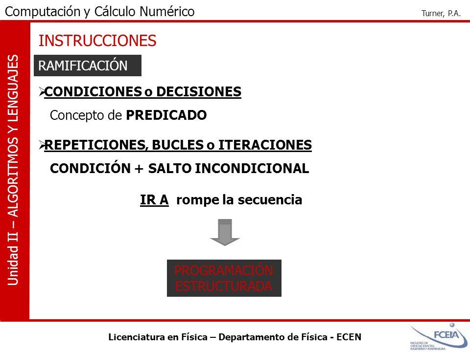 Licenciatura en Física – Departamento de Física - ECEN Computación y Cálculo Numérico Turner, P.A. Unidad II – ALGORITMOS Y LENGUAJES INSTRUCCIONES RA