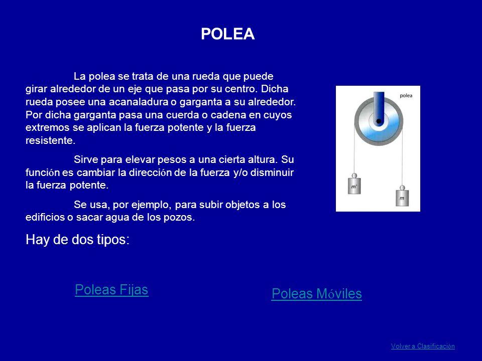 POLEA La polea se trata de una rueda que puede girar alrededor de un eje que pasa por su centro. Dicha rueda posee una acanaladura o garganta a su alr